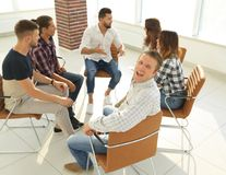 Confident Manager , sitting at the workshop. The concept of successful work Stock Images
