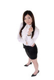 Confident manager woman. Of Asian, high angle shot full length portrait of businessperson isolated on white background Stock Photos