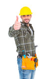 Confident manual worker gesturing thumb up. On white background Royalty Free Stock Photography