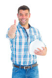 Confident manual worker gesturing thumbs up Royalty Free Stock Photos
