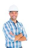 Confident manual working wearing hardhat Royalty Free Stock Photo