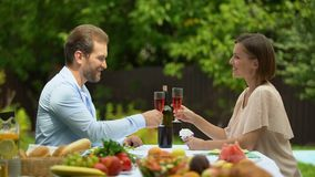 Confident married couple raising wine glasses, property insurance policy. Stock footage stock footage