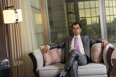 Confident mature businessman. In hotel Royalty Free Stock Photo