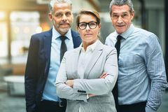 Confident mature businesswoman standing with coworkers in an off royalty free stock photo