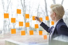 Confident mature businesswoman writing on orange adhesive notes stuck on glass window at office stock image