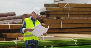 Engineer explaining while holding blueprint. Confident mature male engineer explaining while holding blueprint against timber pile at industry stock video footage