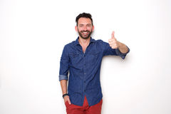 Confident mature man showing thumbs up Royalty Free Stock Photo