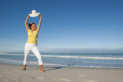 Confident mature woman ocean background Stock Images