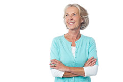 Confident mature woman over white royalty free stock photo