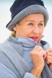 Confident Mature woman warm jumper cold season Royalty Free Stock Photo