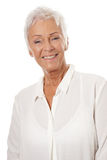 Confident mature woman with white hair royalty free stock photo