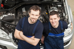 Confident mechanics. Royalty Free Stock Image