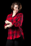 Confident Model Red Flannel Shirt Stock Photo