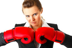 Confident modern business woman with boxing gloves Royalty Free Stock Images