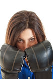 Confident modern business woman with boxing gloves Stock Image