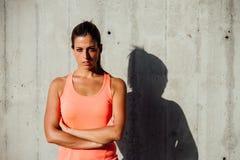 Confident motivated sportswoman portrait Stock Image