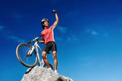 Celebrating cyclist Stock Images