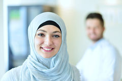 Confident Muslim medical student pose at hospital.  stock photos