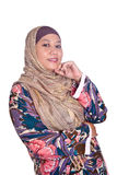 Confident Muslim woman in scarf. Isolated Stock Image