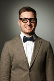 Confident nerd in eyeglasses and bow tie Royalty Free Stock Photo