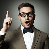 Confident nerd in eyeglasses and bow tie Royalty Free Stock Photos