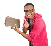 Confident nerdy guy all set for exams Royalty Free Stock Images