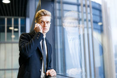 Confident Office Worker Phoning to Client Royalty Free Stock Image