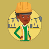Confident oil worker vector illustration. African oil worker in uniform and helmet. Oil worker standing with crossed arms. Oil worker standing on the background Stock Photos