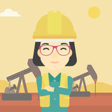 Confident oil worker vector illustration. An asian female oil worker in uniform and helmet. An oil worker with crossed arms. An oil worker standing on a Royalty Free Stock Photos