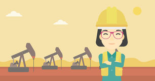 Confident oil worker vector illustration. An asian female oil worker in uniform and helmet. An oil worker with crossed arms. An oil worker standing on a Stock Photo