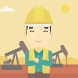 Confident oil worker vector illustration. An asian oil worker in uniform and helmet. An oil worker with crossed arms. An oil worker standing on a background of Stock Photo