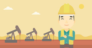 Confident oil worker vector illustration. An asian oil worker in uniform and helmet. An oil worker with crossed arms. An oil worker standing on a background of Stock Image