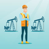 Confident oil worker vector illustration. Caucasian oil worker in uniform and helmet. Confident oil worker standing with crossed arms. Smiling oil worker Royalty Free Stock Photography