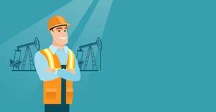 Confident oil worker vector illustration. Caucasian oil worker in uniform and helmet. Confident oil worker standing with crossed arms. Oil worker standing on Stock Image