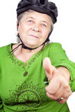 Confident old senior cyclist woman royalty free stock image