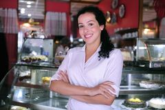 Confident owner of a pastry store royalty free stock images