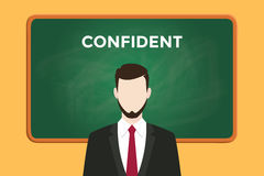 Confident person illustration with a man wearing a black suit in front of green chalk board and white text Stock Images