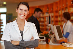 Confident pharmacist in pharmacy Royalty Free Stock Photos