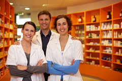 Confident pharmacy team Stock Photos