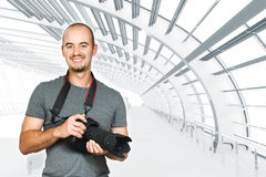 Confident photographer background Stock Photo
