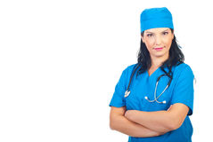 Confident physician woman with hands crossed Stock Image