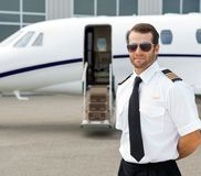 Confident Pilot Wearing Sunglasses Stock Photos