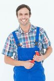 Confident plumber holding monkey wrench Stock Image