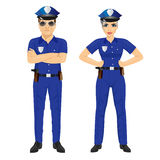 Confident police man and woman agents in uniform Stock Photos