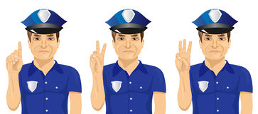 Confident policeman counting numbers from one to three with his fingers. On white background Stock Photos