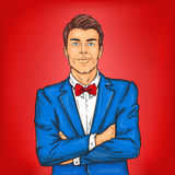 Confident pop art man in a suit and bow tie royalty free illustration