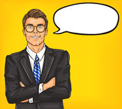 Confident pop art man in a suit and glasses. Illustration of a confident pop art man in a suit and glasses royalty free illustration