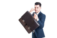 Confident and powerful salesman businessman or banker. Acting like a fighter isolated on white background Stock Images