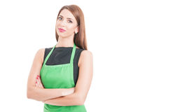 Confident pretty employee standing with arms crossed Royalty Free Stock Photo