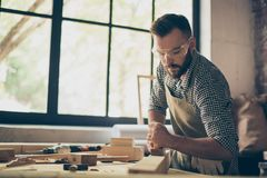 Confident professional busy hardworking bearded handsome serious stock photos